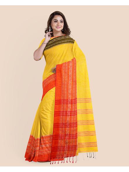 Yellow Red Black Handwoven Khadi Cotton Begumpuri Ganga Jamuna Mahapaar Saree with Blouse Piece-2
