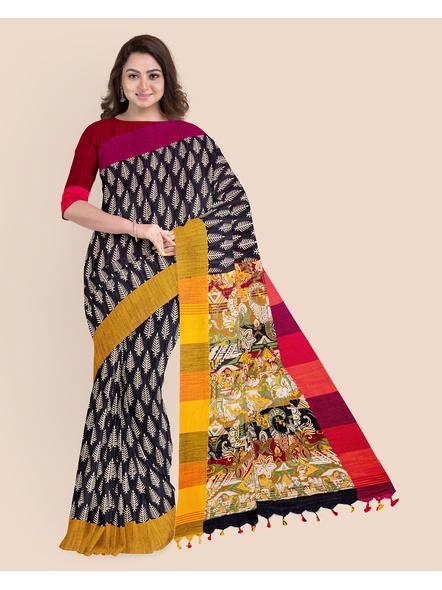Handloom Khadi Ajrakh Leaf Block Print Multicolored Saree with Blouse piece-4