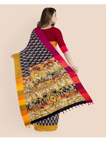 Handloom Khadi Ajrakh Leaf Block Print Multicolored Saree with Blouse piece-1