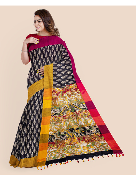 Handloom Khadi Ajrakh Leaf Block Print Multicolored Saree with Blouse piece-2