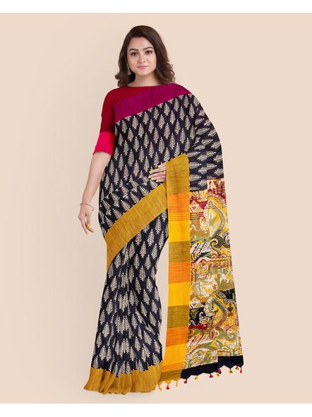 Handloom Khadi Ajrakh Leaf Block Print Multicolored Saree with Blouse piece-LAAKCAS005