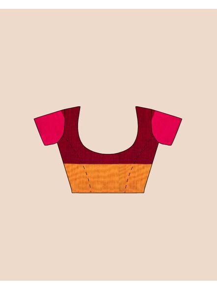 Handloom Khadi Ajrakh Leaf Block Print Multicolored Saree with Blouse piece-5