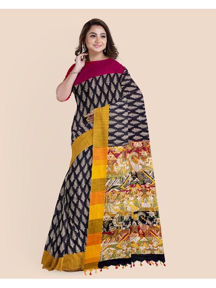 Handloom Khadi Ajrakh Leaf Block Print Multicolored Saree with Blouse piece-3