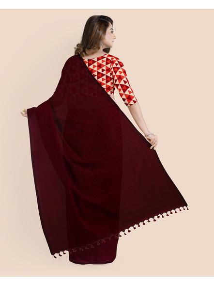 Mercerized Handloom Dark Mahogany Khadi Cotton Saree with Pompom and Blouse Piece-1
