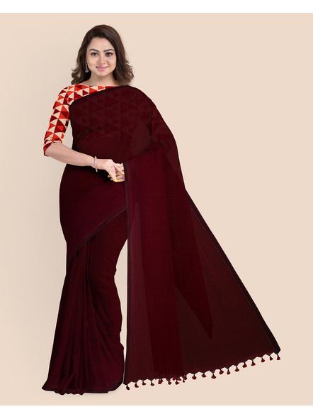 Mercerized Handloom Dark Mahogany Khadi Cotton Saree with Pompom and Blouse Piece-3