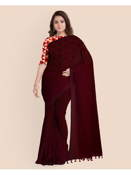 Mercerized Handloom Dark Mahogany Khadi Cotton Saree with Pompom and Blouse Piece-2