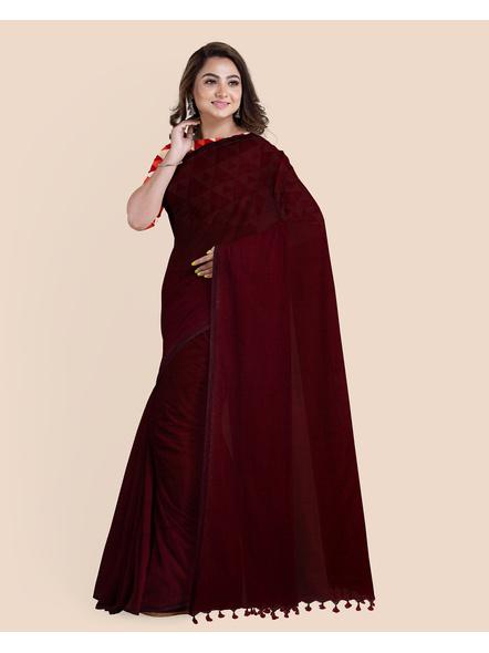 Mercerized Handloom Dark Mahogany Khadi Cotton Saree with Pompom and Blouse Piece-LAAMHCWBP015