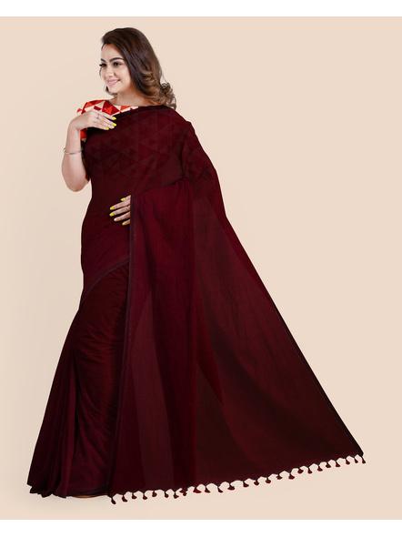 Mercerized Handloom Dark Mahogany Khadi Cotton Saree with Pompom and Blouse Piece-4