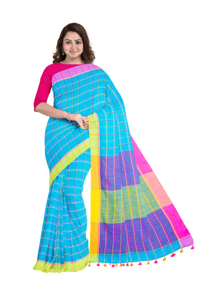 Handloom Multicolored Checkered Khadi Saree with Pompom and Running Blouse Piece-LAAKHSWBP001