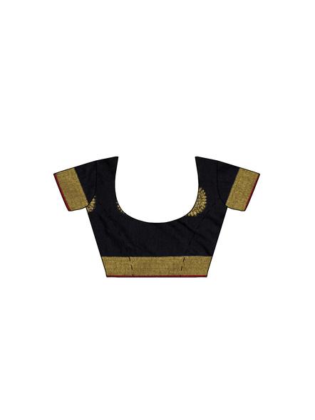 Handloom Black Golden Cotton silk Saree with Running Blouse Piece-5
