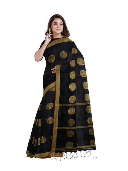 Handloom Black Golden Cotton silk Saree with Running Blouse Piece-4