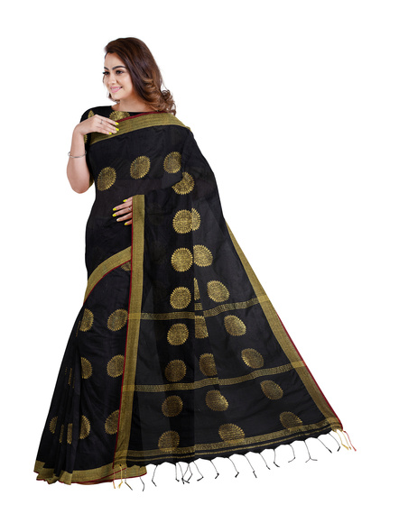 Handloom Black Golden Cotton silk Saree with Running Blouse Piece-2