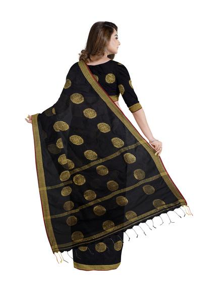 Handloom Black Golden Cotton silk Saree with Running Blouse Piece-1