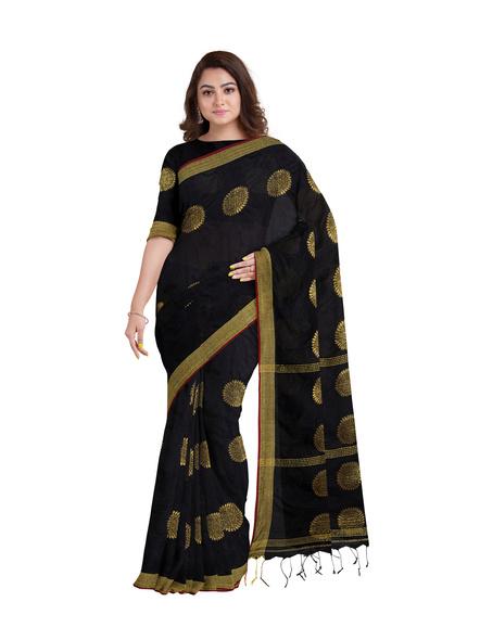 Handloom Black Golden Cotton silk Saree with Running Blouse Piece-3