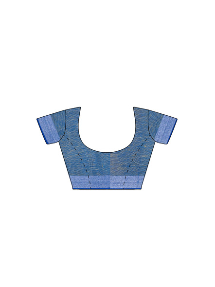 Handloom Yellow Blue Silver Zari Cotton Linen with Contrast Blouse Piece-5