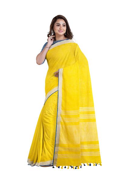Handloom Yellow Blue Silver Zari Cotton Linen with Contrast Blouse Piece-2