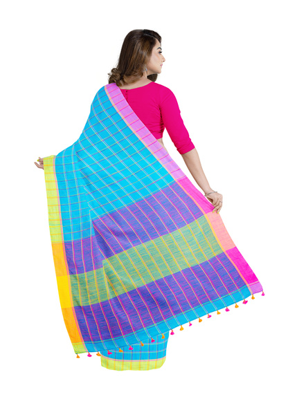 Handloom Multicolored Checkered Khadi Saree with Pompom and Running Blouse Piece-1