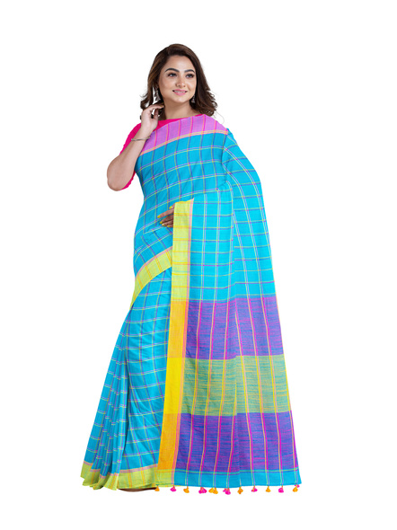 Handloom Multicolored Checkered Khadi Saree with Pompom and Running Blouse Piece-4