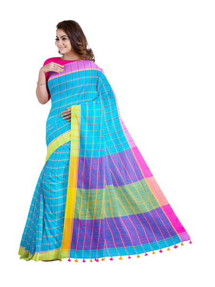 Handloom Multicolored Checkered Khadi Saree with Pompom and Running Blouse Piece-2