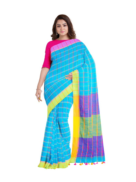 Handloom Multicolored Checkered Khadi Saree with Pompom and Running Blouse Piece-3