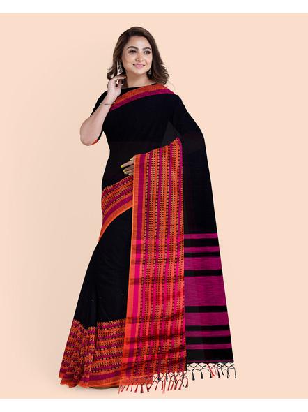 Black Orange Handwoven Khadi Cotton BegumPuri Mahapaar Saree with Blouse Piece-4