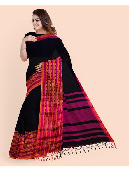 Black Orange Handwoven Khadi Cotton BegumPuri Mahapaar Saree with Blouse Piece-2