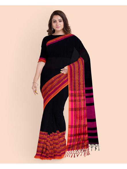 Black Orange Handwoven Khadi Cotton BegumPuri Mahapaar Saree with Blouse Piece-3