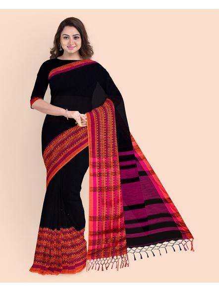 Black Orange Handwoven Khadi Cotton BegumPuri Mahapaar Saree with Blouse Piece-LAAHKBSWBP013