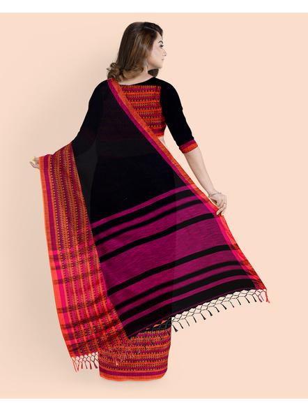 Black Orange Handwoven Khadi Cotton BegumPuri Mahapaar Saree with Blouse Piece-1