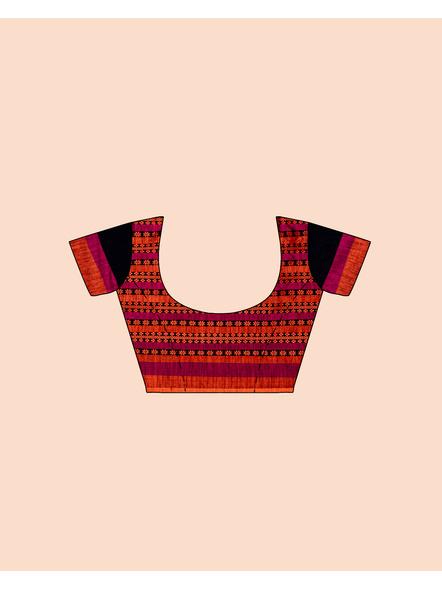 Black Orange Handwoven Khadi Cotton BegumPuri Mahapaar Saree with Blouse Piece-5