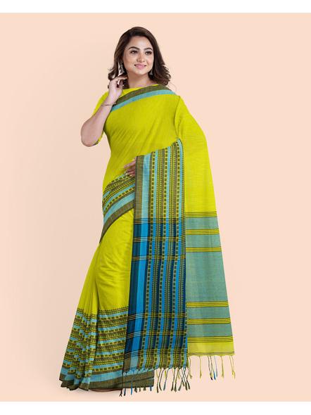 Lemon Green Blue Handwoven Khadi Cotton Begumpuri Mahapaar Saree with Blouse Piece-4