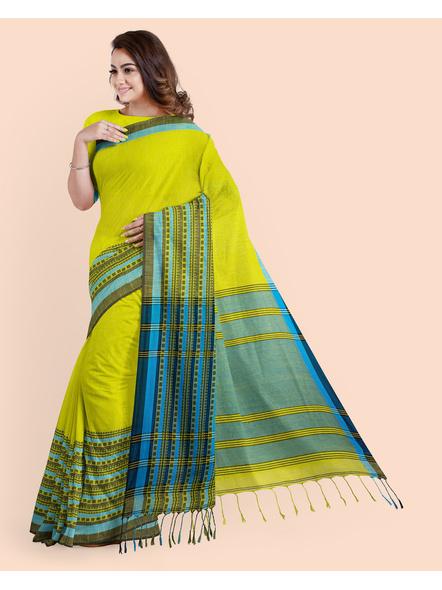 Lemon Green Blue Handwoven Khadi Cotton Begumpuri Mahapaar Saree with Blouse Piece-3