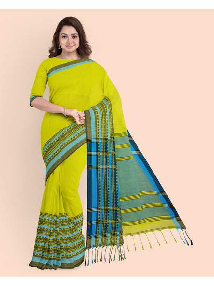 Lemon Green Blue Handwoven Khadi Cotton Begumpuri Mahapaar Saree with Blouse Piece-LAAHKBSWBP014