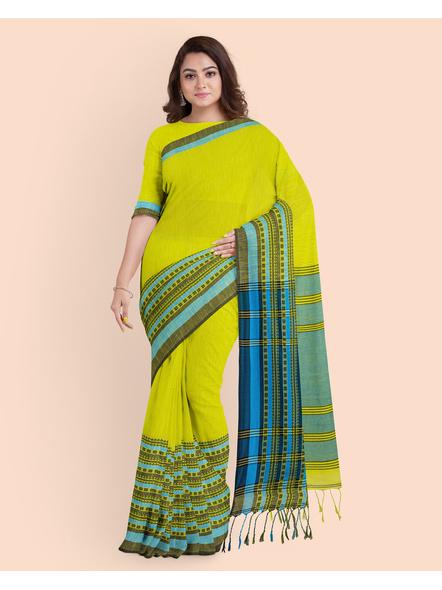 Lemon Green Blue Handwoven Khadi Cotton Begumpuri Mahapaar Saree with Blouse Piece-2