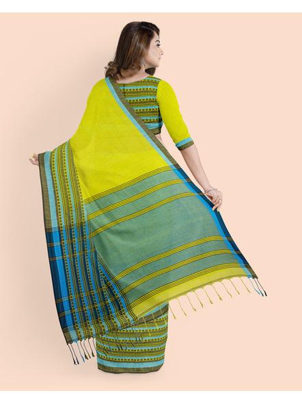 Lemon Green Blue Handwoven Khadi Cotton Begumpuri Mahapaar Saree with Blouse Piece-1