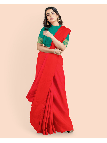 Mercerized Handloom Red Khadi Cotton Saree with Pompom and Blouse Piece-LAAMHCWBP016