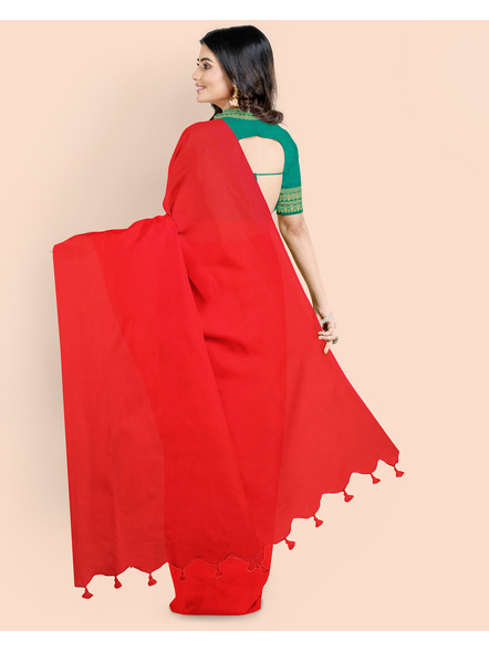 Mercerized Handloom Red Khadi Cotton Saree with Pompom and Blouse Piece-1