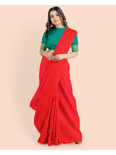 Mercerized Handloom Red Khadi Cotton Saree with Pompom and Blouse Piece-4