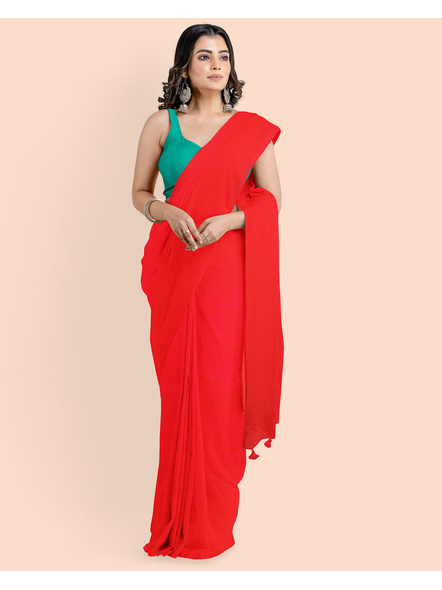 Mercerized Handloom Red Khadi Cotton Saree with Pompom and Blouse Piece-3
