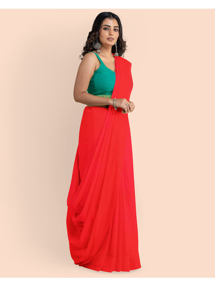 Mercerized Handloom Red Khadi Cotton Saree with Pompom and Blouse Piece-2