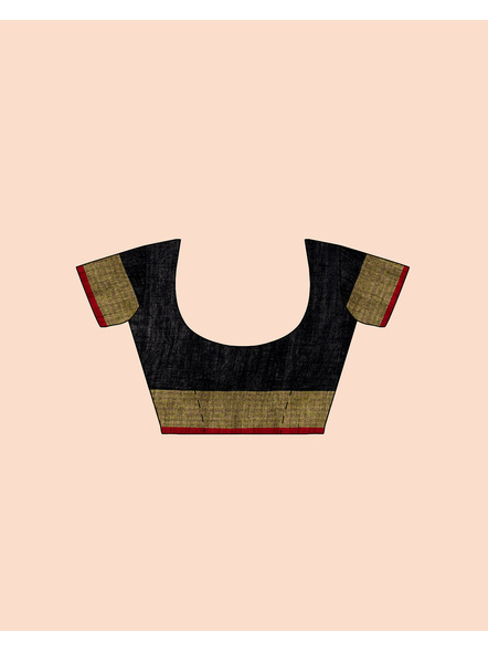 Black Red Ball Buti Khadi Cotton Handloom Saree with Pompom and Blouse Piece-5