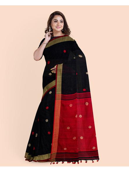 Black Red Ball Buti Khadi Cotton Handloom Saree with Pompom and Blouse Piece-4