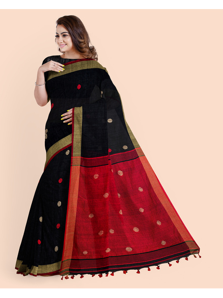 Black Red Ball Buti Khadi Cotton Handloom Saree with Pompom and Blouse Piece-2