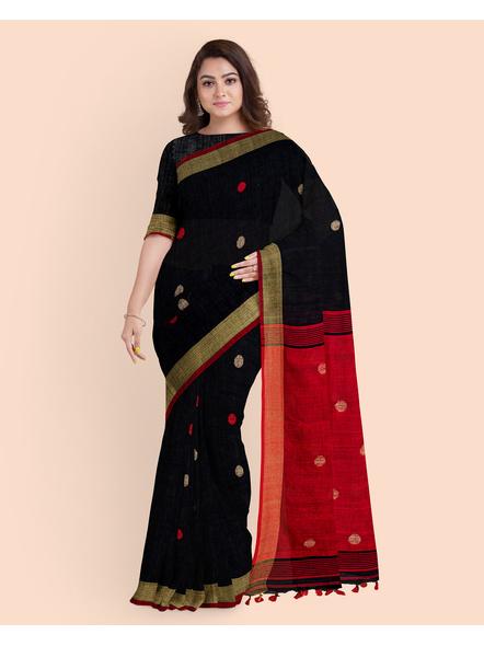 Black Red Ball Buti Khadi Cotton Handloom Saree with Pompom and Blouse Piece-3