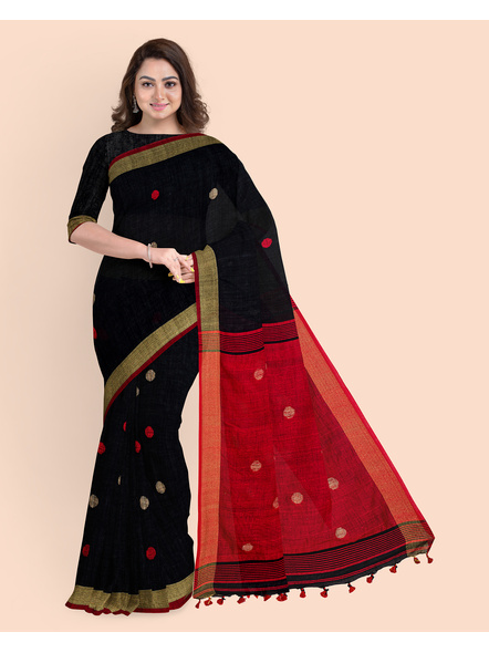 Black Red Ball Buti Khadi Cotton Handloom Saree with Pompom and Blouse Piece-LAAHLSWBP012