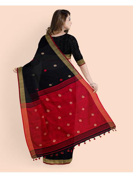 Black Red Ball Buti Khadi Cotton Handloom Saree with Pompom and Blouse Piece-1