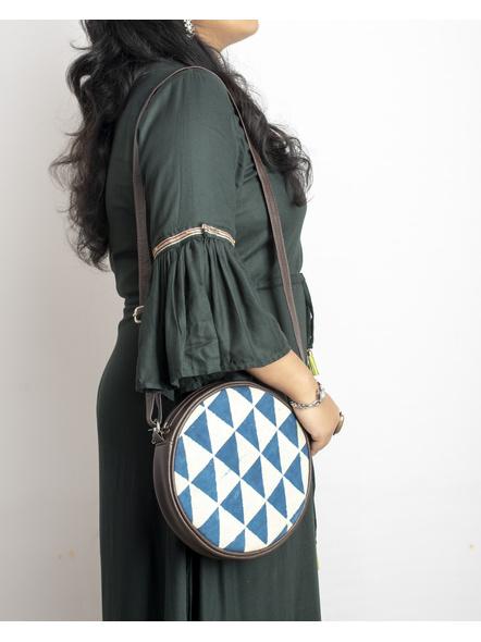 Handcrafted Circular Stylish White Indigo Triangle Print Sling Bag-LAACSSB008