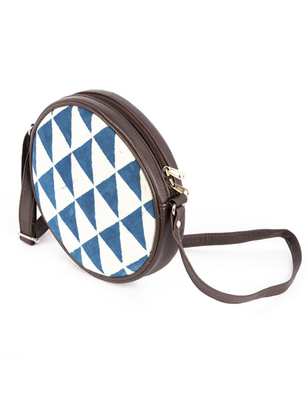Handcrafted Circular Stylish White Indigo Triangle Print Sling Bag-1