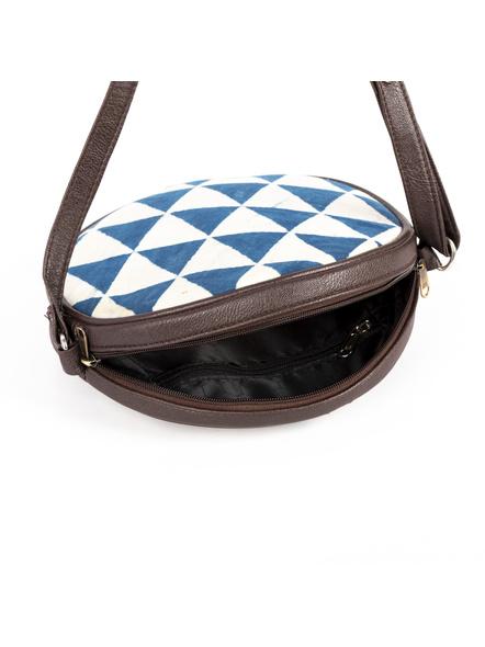 Handcrafted Circular Stylish White Indigo Triangle Print Sling Bag-2