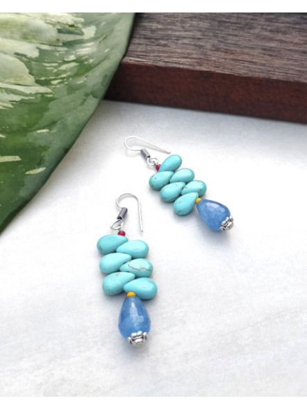 Handcrafted Designer Semi Precious Blue Onyx Drop Earring with Turquoise Drops and Yellow Red Seed Bead-LAAER206